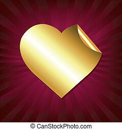 coeur, autocollant, or