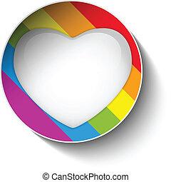 coeur, autocollant, rayé, drapeau, gay