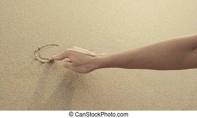 coeur, aways, lavé, écrit, mer sable, plage, waves.