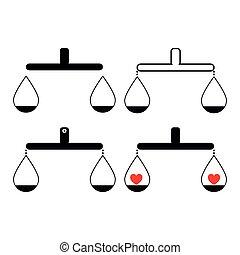 coeur, balance, noir, article, équilibre, ensemble, couleur, ou, une