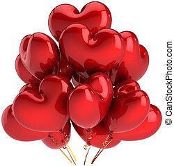 coeur, ballons, amour, rouges, formé