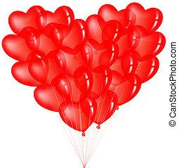 coeur, ballons, tas, rouges, forme