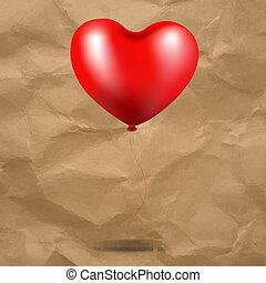 coeur, balloon, carton, arrière-plan rouge