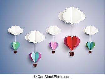 coeur, balloon, chaud, forme., air