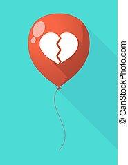 coeur, balloon, ombre, long, cassé