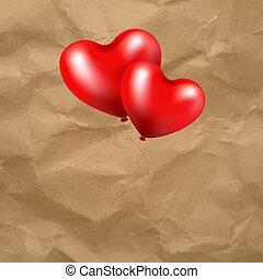 coeur, balloon, transparent, fond, rouges