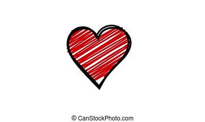 coeur, battement, -, amour, animation