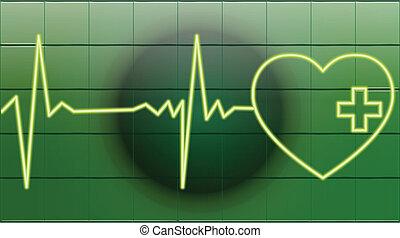 coeur, battements, vert, healty