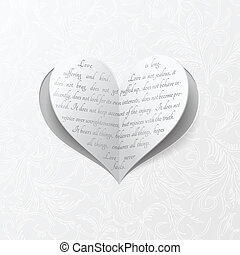 coeur, blanc, carte papier, mariage