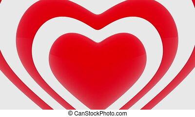 coeur, blanc, contours, rouges