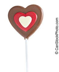 coeur, blanc, sucette, isolé, chocolat
