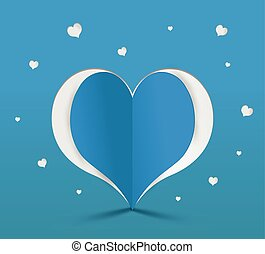 coeur, bleu, papier, illustration, vecteur, sticker.