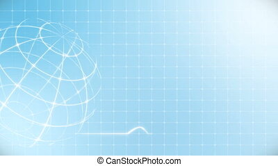 coeur, blue., battement, cardiogramme, globe, monde médical