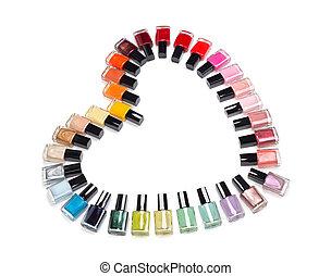 coeur, bouteilles, formulaire, multicolore, vernis à ongles