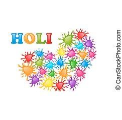 coeur, c, coloré, formulaire, festival, éclaboussure, peinture, indien, holi
