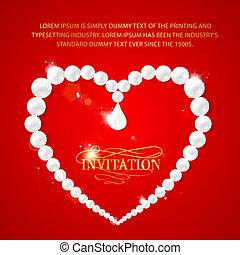 coeur, cadre, perls