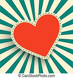 coeur, cadre, retro, fond