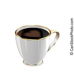 coeur, café, amour, grande tasse, illustration