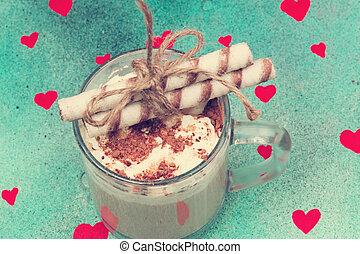 coeur, café, amour, vendange, biscuits, chocolat, retro, vieux, crème