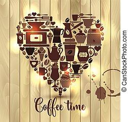 coeur, café, bois, icons., vecteur, illustration