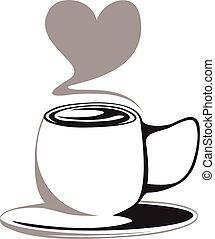 coeur, café, vecteur, effet, tasse