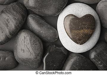 coeur, caillou, formé