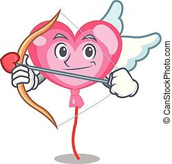 coeur, caractère, cupidon, ballon, dessin animé