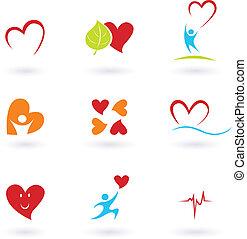 coeur, cardiologie, icônes