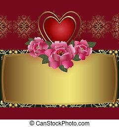 coeur, carte, félicitation, rouges
