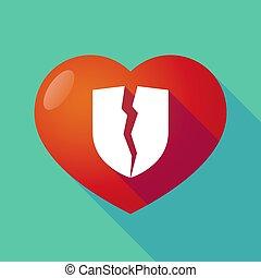 coeur cassé, bouclier, long, ombre