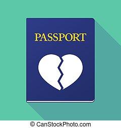 coeur cassé, passeport, long, ombre