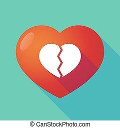 coeur cassé, rouges, long, ombre