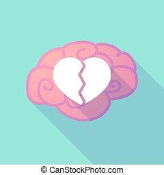 coeur, cerveau, cassé, long, ombre