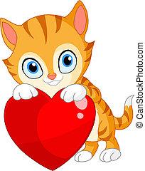 coeur, chaton, valentin