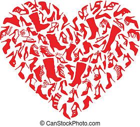 coeur, chaussures, vecteur, rouges