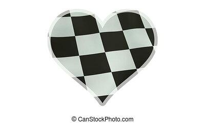 coeur, checkered, symbole, loopable, drapeau ondulant, battement