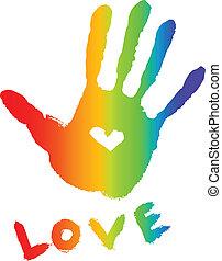 coeur, clair, handprint, coloré