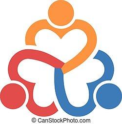 coeur, collaboration, gens., trois, groupe
