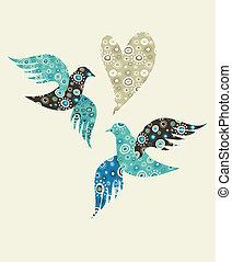 coeur, colombes, deux