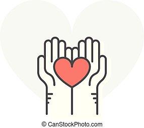 coeur, concept, aide, charité, -, portion, donation, tenant mains, volontaire