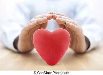 coeur, concept, amour, assurance, santé, hands., couvert, ou, rouges