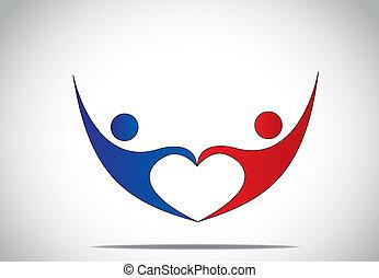 coeur, concept, amour, danse, jeune, symboles, femme, bonheur, bleu, &, -, forme., couple, rouges, femme heureuse, joie, symbole, sauter, mains, prise, homme, coloré, danse, haut, personne, mâle