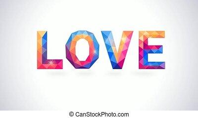 coeur, concept, amour, romantique, polygonal, animation, vidéo, card.