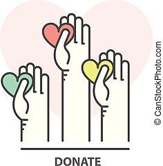 coeur, concept, collecte fonds, charité, -, main, portion, donation, volontaire