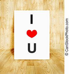 coeur, concept, mot, affiche, balloon, valentin, bois, parquet, amour, blanche salle