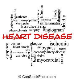 coeur, concept, mot, maladie, casquettes, nuage, rouges