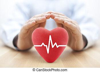 coeur, concept, pouls, santé, couvert, assurance, hands.