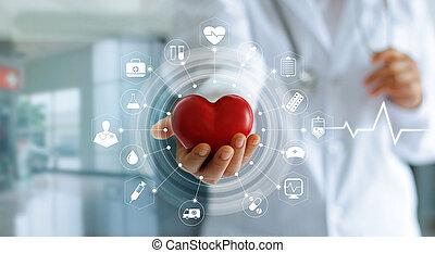 coeur, concept, réseau, docteur, monde médical, moderne, forme, virtuel, main, connexion, interface, tenue, médecine, technologie, écran, rouges, icône