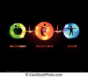 coeur, concept, sain, symboles, battement, connecté, humain, ligne