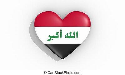 coeur, couleurs, drapeau, irak, impulsions, boucle